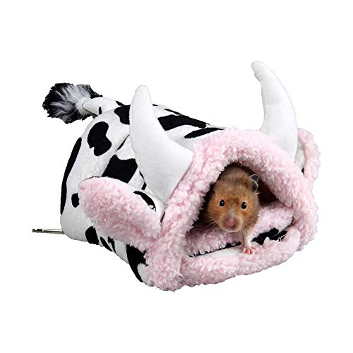 IQQI Lovely Breathable Cow Appearance Pet Bed, Small Animal House Guinea Pigs Hamsters Hedgehogs Dutch Rats