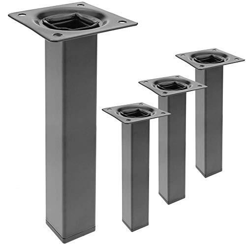 PrimeMatik - Pies Cuadrados para Mesa y Mueble. Patas en Acero Negras de 25cm 4-Pack