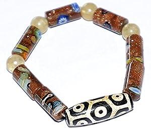 HYJMJJ Feng Shui Perle Armband Tibetanisches Tribal Neun Augaat-Dzi-Perlen-Armband (Inspirational Charm Armband für Mitgefühl und Harmonie) Amulett-Perl-Armband