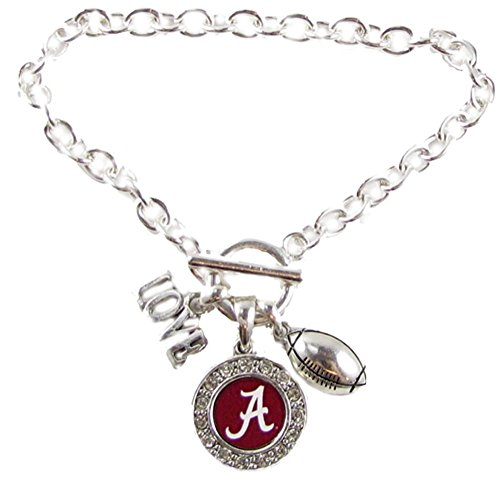 Sports Accessory Store Alabama Crimson Tide Multi Charm Love Footballl Red Silver Bracelet Jewelry UA
