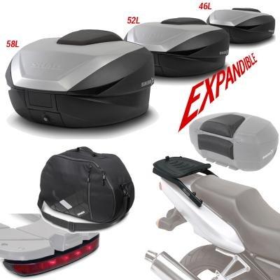 Sh59boreluhe118 - fitting kit + suitcase back trunk + backrest + inner bag + brake light gift sh5 compatible with ktm duke 690 17 ktm duke 690 2017-2017