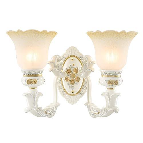 Style européen fer résine sculpté artisanat mur lumières E27 verre abat-jour salon salle d'étude chambre chevets escalier couloir lampes,Doublehead