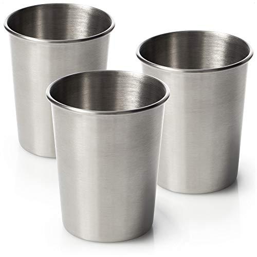 com-four® 3X Edelstahl-Trinkbecher - Hochwertiger Becher aus Edelstahl - Campingbecher 200 ml - Reisebecher bruchsicher und BPA-frei (200ml)