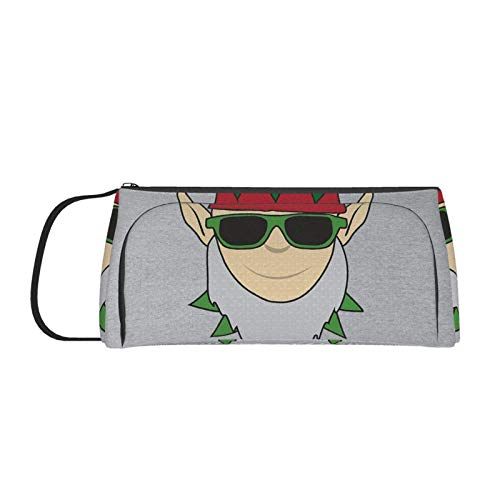 DJNGN Hashtag Elfie Elf C-h-r-i-s-tmas LargeCapacity Double Zipper Pencil Case, Only Can Be Used As an Organizer for Desk Supplies, But Also As A Pencil Case Or Makeup Brush Case