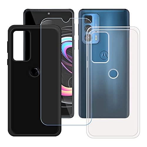"szjckj 2 x Funda para Motorola Edge 20 Pro (6,7"")+ 1 x Protector de Pantalla, Case Cover Carcasa Bumper Negro + Transparente Clear TPU Silicone Cristal Vidrio Templado."