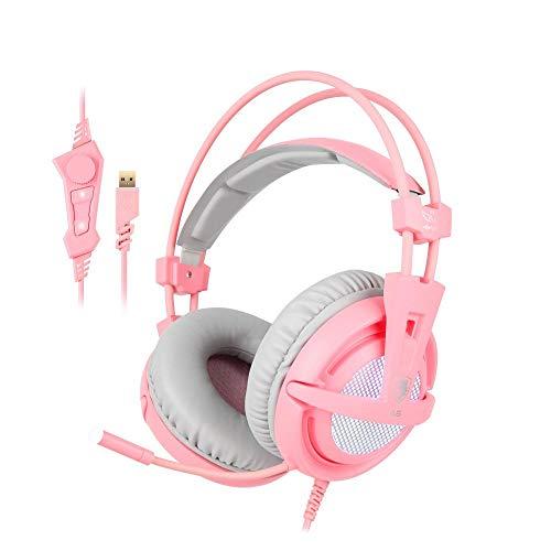 gaming headset SFBBBO USB 7.1 Stereo kabelgebundener Gaming-Kopfhörer Spiel-Headset über dem Ohr mit Mikrofon Sprachsteuerung für Laptop-Spieler Gamer Pink