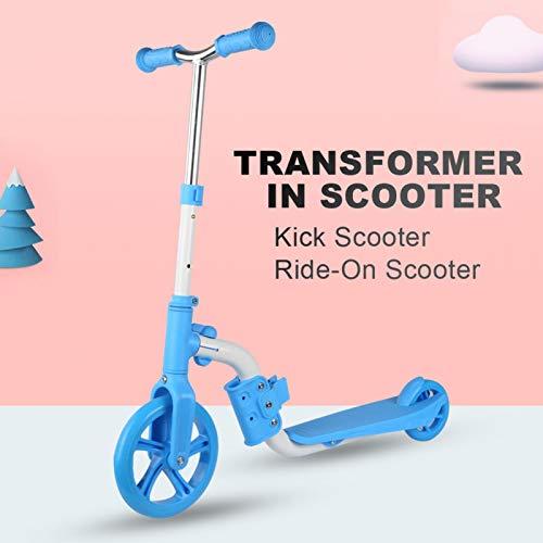 Emoshayoga Cubierta Antideslizante Lean to Steer Kids Scooter Regalos de cumpleaños de Navidad Amigos Familia Niños Niñas(Blue Toddler Scooter)