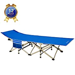 DRMOIS Camping Beds Veldbedden Opvouwbaar, max Static Resilience 260 kg Camping Bed for Outdoor Camping Travel Home Lounging Use – Royal Blue*