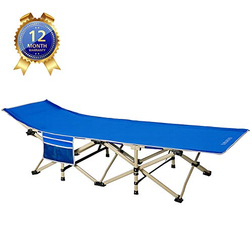 DRMOIS Camping cots, Oversized Portable Foldable Outdoor Bed with Carry Bag, Heavy Duty Camp Cots for Traveling Beach Vocation and Indoor Office Nap Home Lounging, Support 500 Lbs-Royal Blue