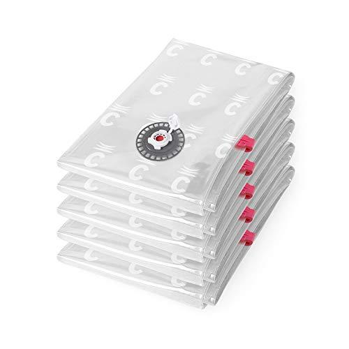 Compactor Aspispace Lot de 5 x Sac de rangement sous vide, Transparent, taille M, 55 x 0,2 x H90 cm, RAN7368