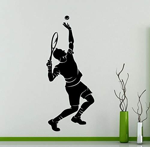 Tianpengyuanshuai Tennisspieler Silhouette Wandaufkleber Sport Serie Menschen Spielen Tennis Muster Vinyl Wandtattoo Home Decoration 85X36cm