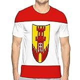 Camiseta de Verano de Moda básica de Manga Corta Ajustada Informal para Hombre Bandera de warendorf en renania del Norte Westfalia L