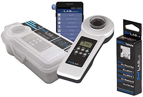 well2wellness® Elektronischer Pool Wassertester PoolLab 1.0 - Prime Version 1 Plus 1 x Refill extra