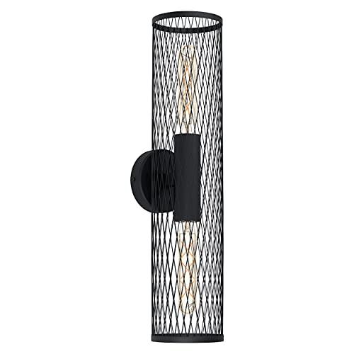 EGLO Lámpara de pared Redcliffe, 2 focos, lámpara de pared moderna, industrial, iluminación de pared para interior de metal, lámpara de salón en negro, lámpara de pasillo con casquillo E27