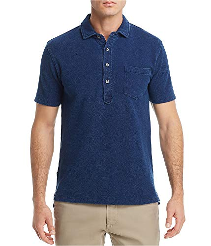 Oobe Brand Mens Textured Regular Fit Rugby Polo Shirt, Blue, Small