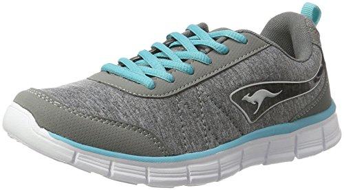 KangaROOS Damen KR-Run REF Sneaker, Grau (Vapor Grey/Turquoise 2035), 39 EU