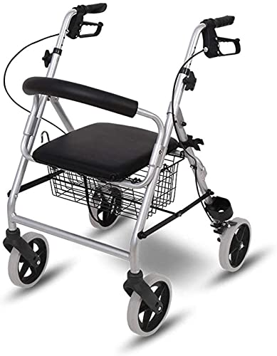 Andador con Andador con Asiento y Ruedas, andadores portátiles para Personas Mayores, ayudas para Caminar, Andador con Cesta de Almacenamiento de Gran Capacidad