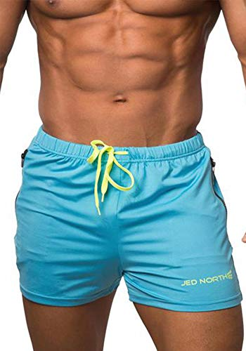 Men's Fitted Shorts Bodybuilding Workout Gym Running Tight Lifting Shorts Pants, Large, Aqua blue