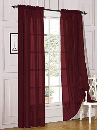 """Decotex 2 Piece Sheer Voile Light Filtering Rod Pocket Window Curtain Panel Drape Set Available in a Variety of Sizes and Colors (54"""" X 84"""", Burgundy)"""