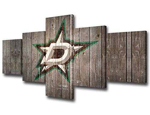 Dallas Stars Team Logo Pictures for Wall Art National Hockey League Paintings 5 Piece Canvas Living Room Decor Abstract Artwork House Decoration Poster Prints Framed Ready to Hang(50Wx24H inches)
