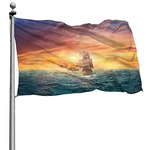 RJRA Piratensegel-Flaggen für den Außenbereich, doppelseitig, bunt, Design für alle Jahreszeiten und Feiertage, Schwarz, Einheitsgröße
