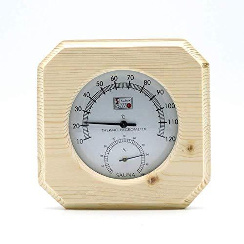 Thermometer hygrometer voor binnen en buiten weerstation analoog binnen buiten sauna stoombad speciale temperatuur- en luchtvochtigheidstabel ceder omwikkeld, 14 x 14 x 2,5 cm