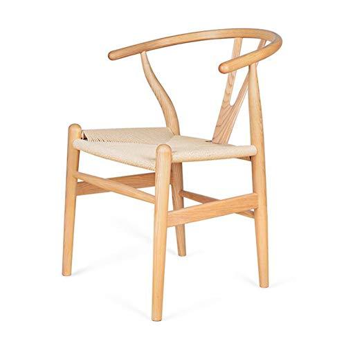 Stühle CJC Esszimmerstühle Amish Essen Asche Holz Seite, Verwittert, Wishbone Stil Gewebte Natürlich Gewebte Kabel PU Sitz (Farbe : T1)