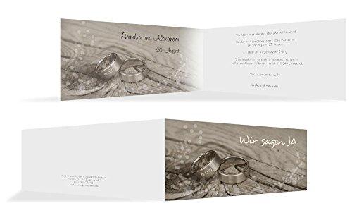 Hochzeitskarten: Einladungskarte Hochzeit Eheringe, hochwertige Einladung zur Heirat inklusive Umschläge | 15 Karten (format: 215.00x105.00mm) color: Braun
