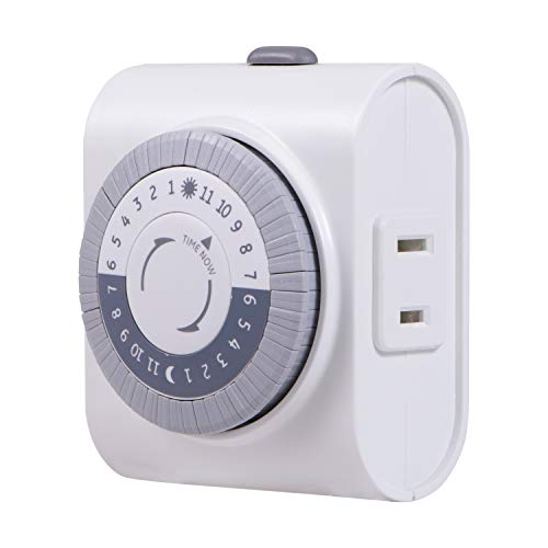 GE 24-Hour Indoor Plug-in Mechanical Timer, Big Button for Easy Programing, 1 Polarized Outlet, 30 Minute Intervals, Daily On/Off Cycle, for Lamps, Portable Fans, Seasonal Lights, 15076, Big Button 1-Outlet | Gray/White