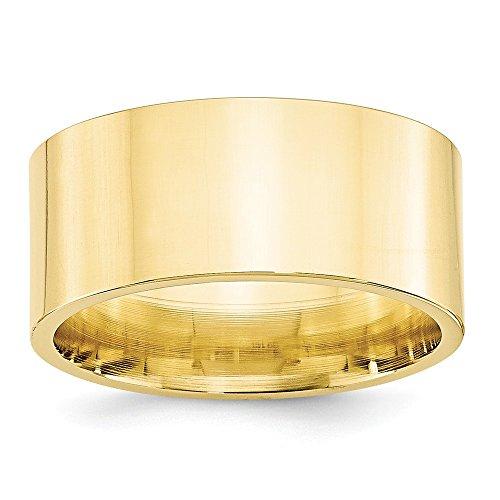 Diamond2Deal - Anello da uomo in oro giallo 10 k, 10 mm, piatto, confortevole, misura 9,5