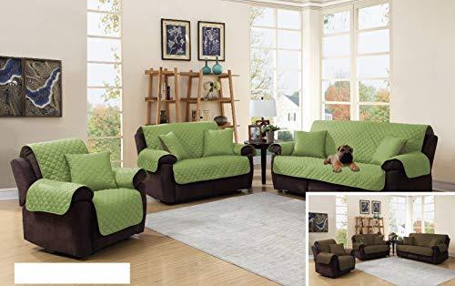 3 Piece Microfiber Reversible Furniture Pets Protector Set Sofa/Loveseat/Chair Slipcovers (Sage / Brown)