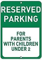 金属ティンサインの壁の装飾、Mの下の子供を持つ親のための予約済み駐車場、コーヒーオフィスプールヤードの公共トイレの駐車場の家の壁の装飾、ヴィンテージアートのポスター、家の壁の装飾
