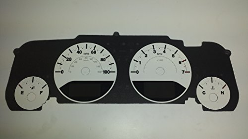 100 MPH 4Ga White Custom White with White Night for: Jeep Wrangler JK 07-14 US Speedo WRA 080 Daytona Edition Gauge Face 1 Or 2 Window