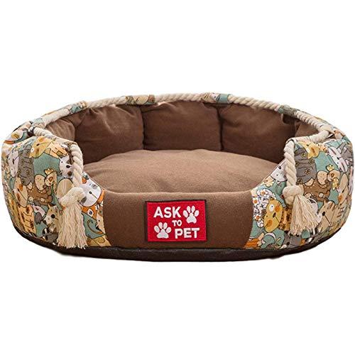 Getrichar Cama de algodón cómoda Simple y Elegante - Nestilla Antideslizante para Perros de Casas para Perros y Gatos (Color : 40 - Brown)