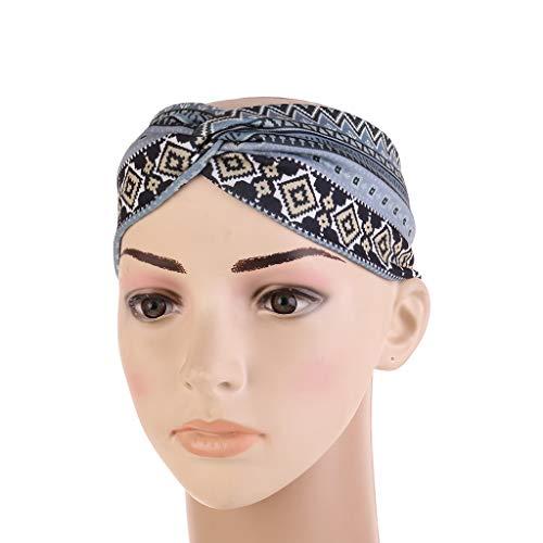 YO-HAPPY Mujeres Étnico Impreso Cruz Ancho Diadema Trenzado Turbante Elástico Hairband Belleza