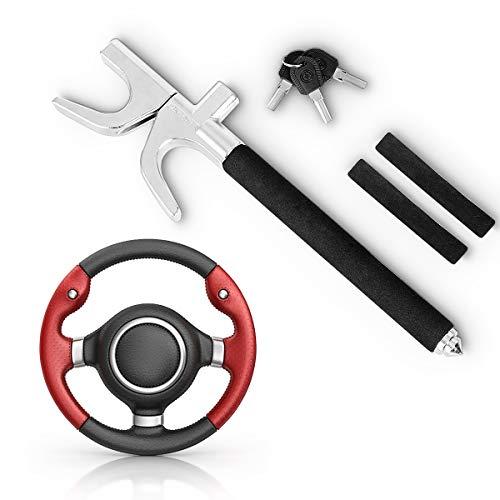 GOPLUS Lenkradkralle Lenkradschloss Diebstahlsicherung Lenkrad Sperre Absperrstange mit Schlüssel zur Diebstahlschutz Auto, schwarz 43-70 cm