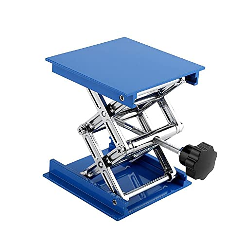 Soporte de plataforma de elevación de laboratorio, levantador de gato de tijera científico, estante de aluminio electroplateado ajustable, resistencia a la corrosión, 4 'x 4', máx. Altura hasta 6.3 '