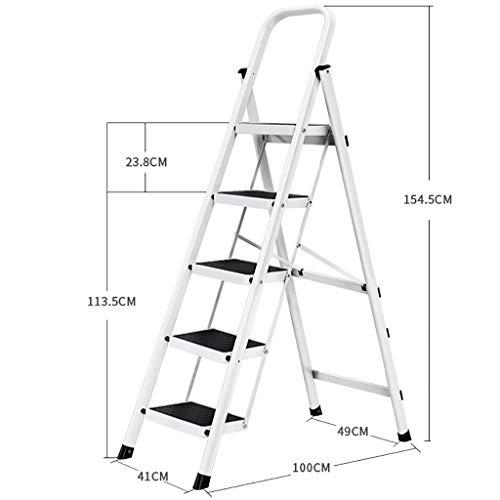 Stepladder huishoudladder, trapladder, draagbare 5-traps stalen ladder, telescopische ladder, multifunctionele trapladder voor op kantoor thuis en in de tuin, antislip, gering gewicht wit
