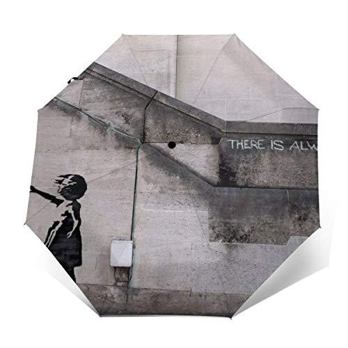 The Banksy Regenschirm für Mädchen, winddicht, automatisches Öffnen/Schließen, kompakter faltbarer Regenschirm Außenprint Einheitsgröße