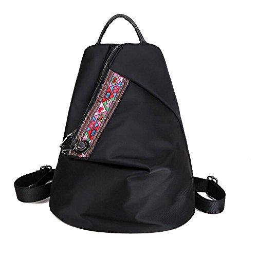 WENMW vrouwen meisjes vintage etnische stijl rugzak borduurwerk schoudertas canvas satchel uniek design rugzak zwart
