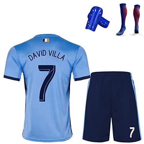 Fußball Uniform T-Shirt Shorts Kits, Pirlo David Villa Ring, 2019-2020 benutzerdefinierte Sportanzug Trikot, Kinder/Jugendliche/Erwachsene-skyblue7-L