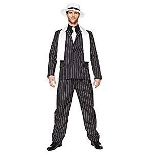 Costume Chef de Mafia Caïd Gangster années 20s pour Adulte Costume Noir à Rayures Blanches