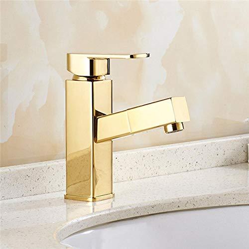 Grifo del lavabo del baño Extractor cuadrado de latón dorado/cromado Saque el grifo del lavabo de lujo Mezclador de lavabo para tocador Nuevas llegadas water Tap @ Golden_China