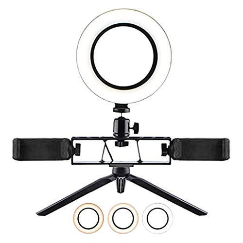 Anillo de luz LED regulable de 16 cm, para selfie, de escritorio, con USB, con trípode y 2 soportes para teléfono, 3 modos de luz, se puede utilizar como luz para cámara, teléfono móvil, foto, vídeo.