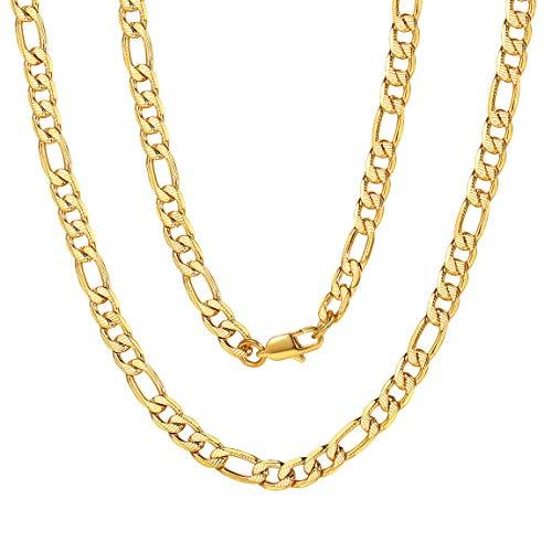 ChainsPro Klassische Figarokette Aus Edelstahl 6mm Breit Italien Figarokette Italienische Männer in Gold Herren Halskette 71 cm Lang