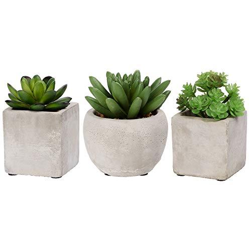 ANSUG 3er Künstliche Sukkulenten Pflanzen mit echtem Beton Topf, Mini Kunststoff Pflanzendekoration Kleine grüne Dekorationen für Büro, Tische, Balkon, Wohnzimmer, Schlafzimmer