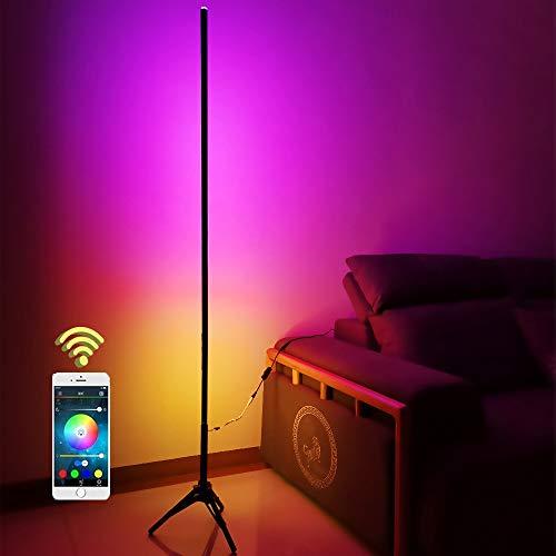 LED Stehleuchte Deckenfluter Smart Stehlampe Dimmbar RGB und Farbtemperaturen, Intelligente Standleuchten mit Alexa und Google APP, 20W Deckenfluter für Wohnzimmer Schlafzimmer Kneipe Hotel, Schwarz