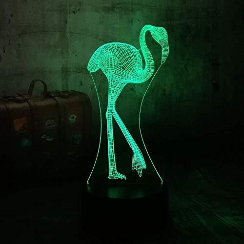 Cadeaux de Noël pour garçons Cadeaux de Noël Night Light Cartoons 3D Flamenco Illusion 7 couleurs Gradation Gradient Night Light Led Lampe de table Nouveauté Décoration de mariage Cadeau de Noël