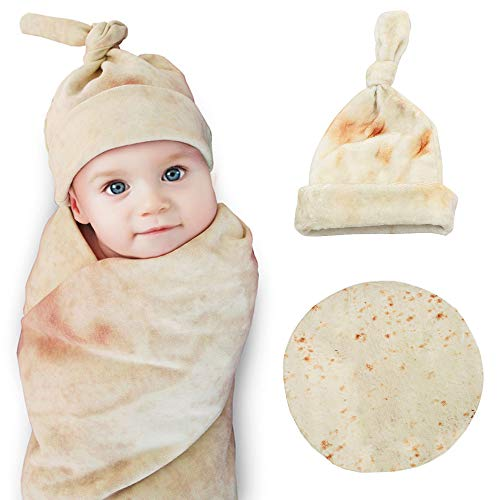 Burrito Swaddle Blanket for Baby,Tortilla Wrap Blanket with Hat,Super Soft,Great Gift for Baby Shower by Safe(Round,Yellow,35inch)