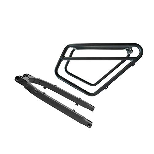 I·PAS Rattan Fat Bear Electric Bike Cargo Rack Bicycle Touring Carrier Frame-Mounted for Heavier Top & Side Loads Fit for Fat Bear Only (Black)
